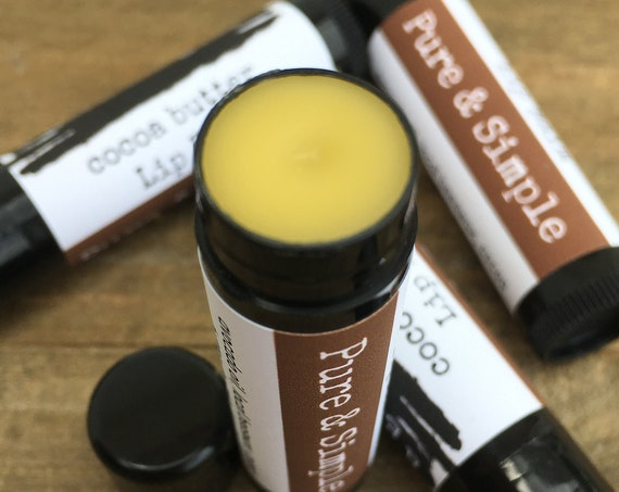 Handmade cocoa  Butter Natural Lip Balm with unrefined local bees wax