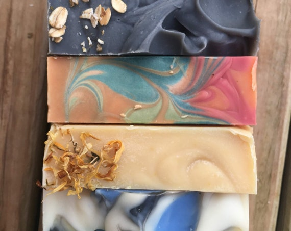 5 handcrafted natural goat milk soaps. Shop from home Shipping included