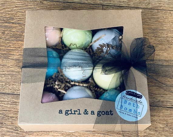 Bath bomb gift set 9 full size assorted scents  bath bombs handcrafted gift packaged ready to gift