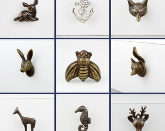 Quality Vintage Animal Door Knobs Drawer Handles Fox Seahorse Bambi Stag Hare Woodland Creatures Novelty Upcycle
