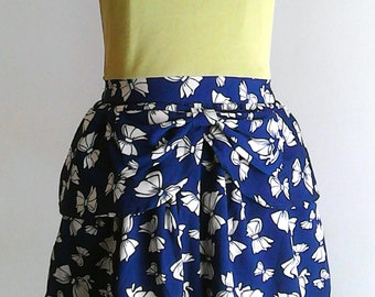 Green/Navy Dress ∞ Bow Print&Waist Detail ∞ One of a Kind ∞ Upcycled ∞ Eco-Fashion ∞