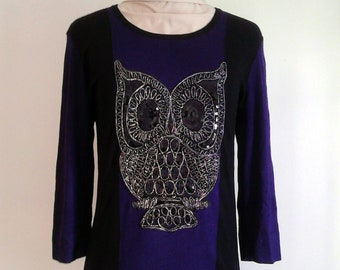 Sequined Owl Patch Black & Purple Jumper ∞ One of a Kind ∞ Upcycled ∞ Eco-Fashion ∞