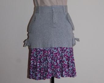 Grey & Purple Flower  Print Sporty Midi Skirt ∞ One of a Kind ∞ Upcycled ∞ Eco-Fashion ∞