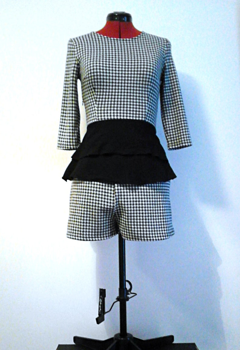 Monochrome Check Co-Ord Top&Shorts Set  One of a Kind  image 0