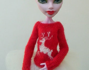 Sweater with a deer for Monster High Doll