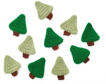 Set of 2 Crochet Christmas Tree Appliques   Crochet Christmas Tree Decorations   Crochet Christmas Appliques   Crochet Christmas Craft