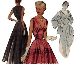 1951 Evening Gown, Slip & Stole Pattern by EvaDress