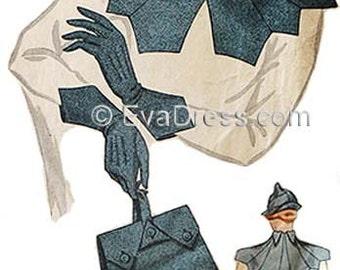 1934 Hat, Collar, Purse & Gloves EvaDress Pattern