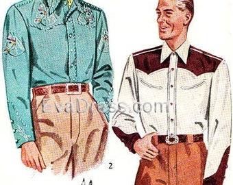 1b094d06e69669 1949 Men's Western Shirts Pattern by EvaDress