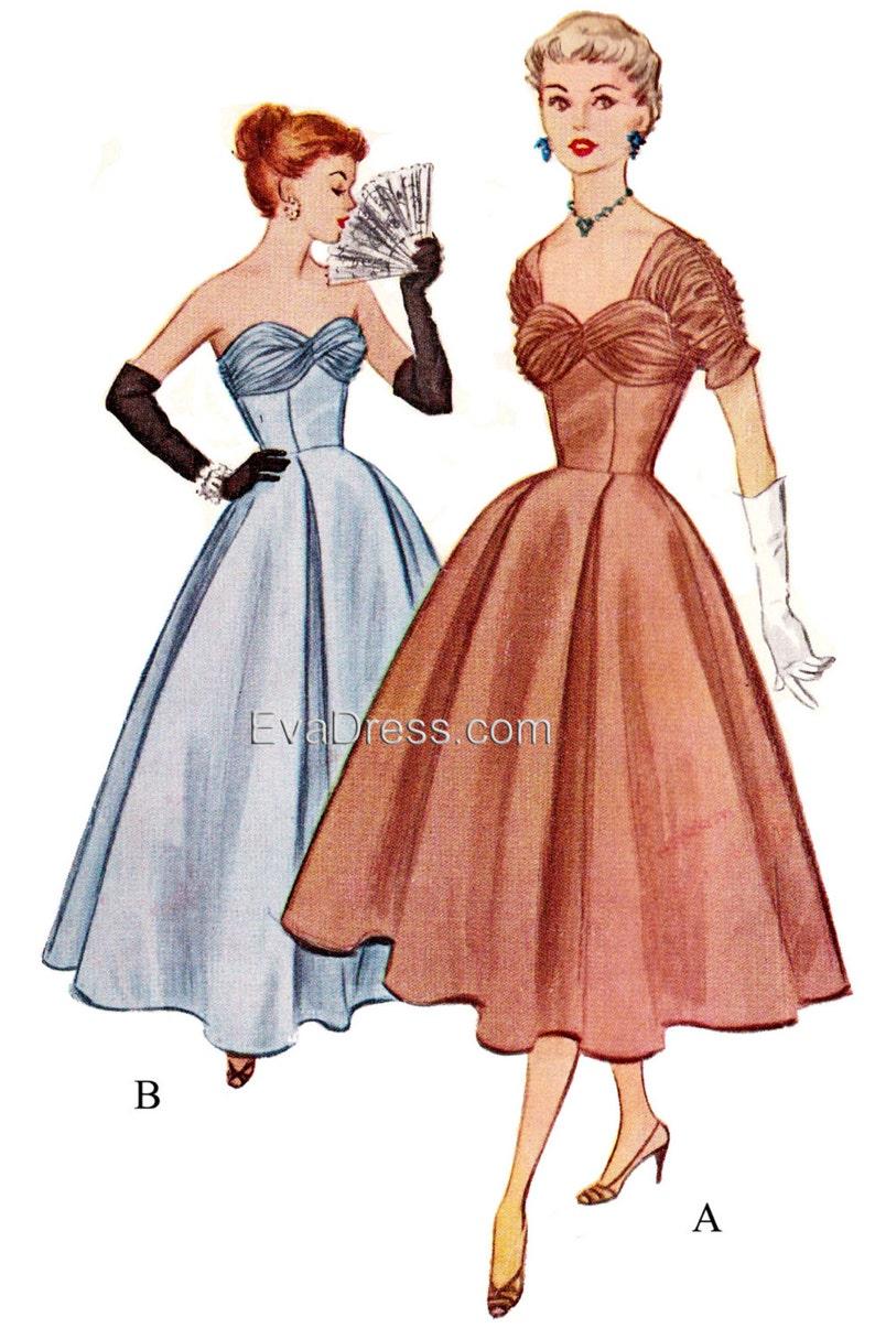 1950s Sewing Patterns | Dresses, Skirts, Tops, Mens 1953 Evening Dress Multi-size EvaDress Pattern! $25.00 AT vintagedancer.com