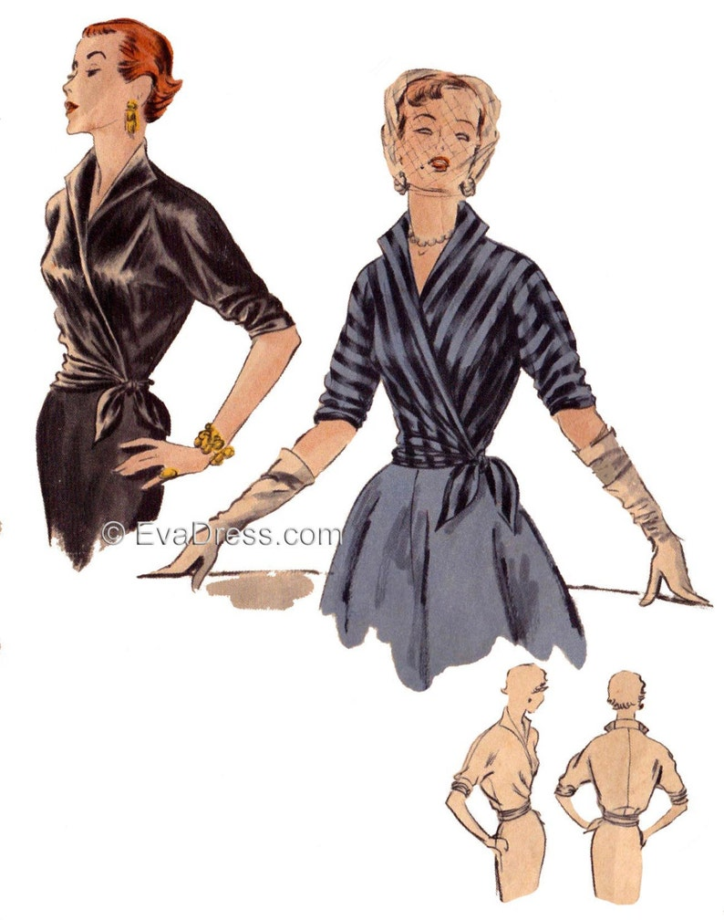 1950s Sewing Patterns | Dresses, Skirts, Tops, Mens 1951 Vogue Kimono Blouse Pattern by EvaDress $18.00 AT vintagedancer.com