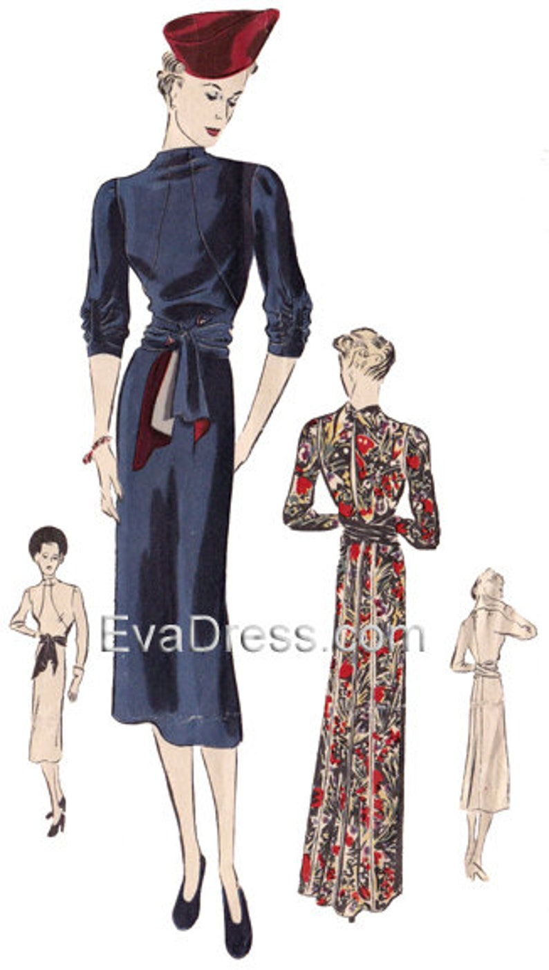 1930s Sewing Patterns- Dresses, Pants, Tops Unusual 1938 Day or Evening Frock Pattern by EvaDress! $22.00 AT vintagedancer.com