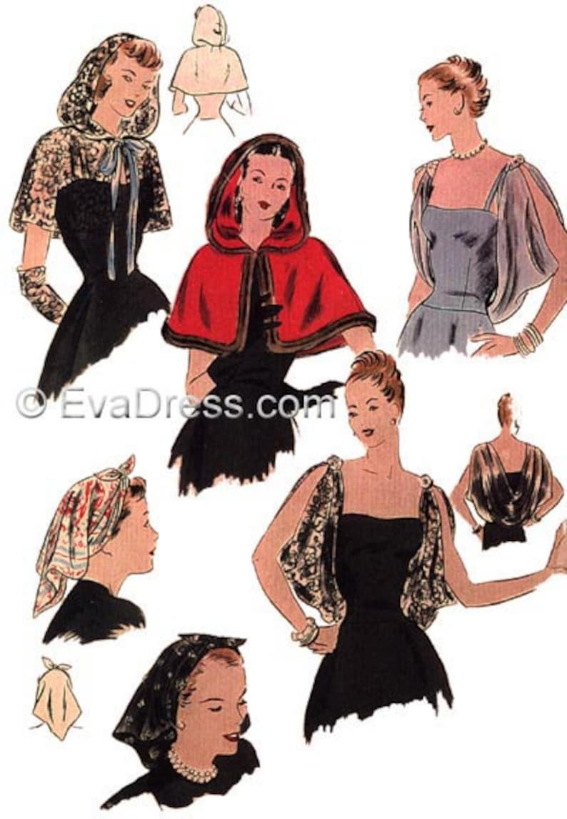 1940s Sewing Patterns – Dresses, Overalls, Lingerie etc 1946 day or Evening Accessories EvaDress Pattern $13.00 AT vintagedancer.com