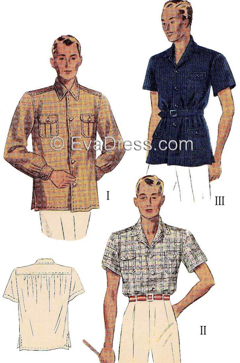 1930s Men's Summer Clothing Guide 1937 Mens Shirt Pattern by EvaDress - Multi-size $15.00 AT vintagedancer.com