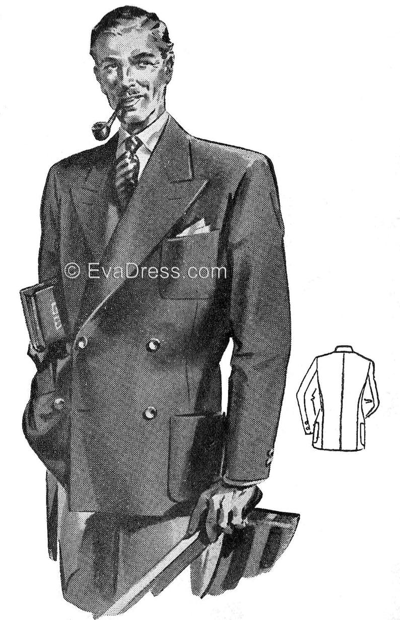 1940s Sewing Patterns – Dresses, Overalls, Lingerie etc 1940s Mens Blazer Multi-size Pattern by EvaDress $22.00 AT vintagedancer.com