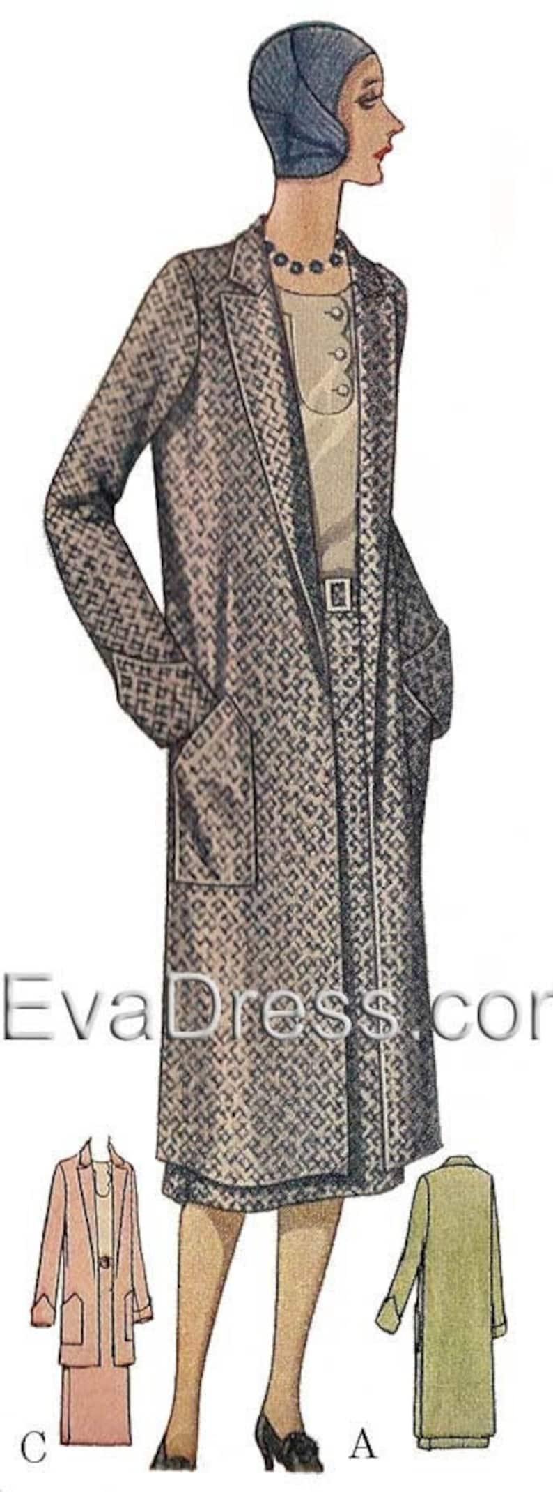 1930s Sewing Patterns- Dresses, Pants, Tops 1929 Coat Pattern by EvaDress $17.00 AT vintagedancer.com