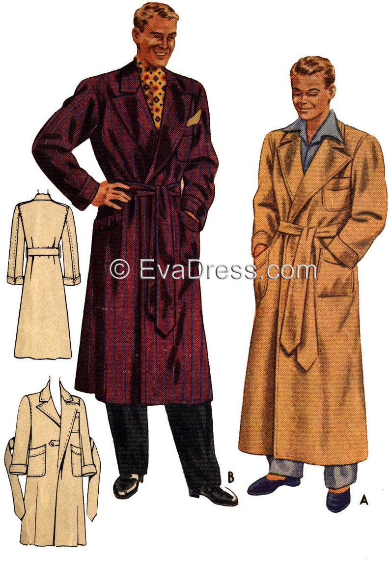 Vintage Nightgowns, Pajamas, Baby Dolls, Robes 1941 Smoking jacket/Robe Size 42-44 chest EvaDress Pattern $20.00 AT vintagedancer.com