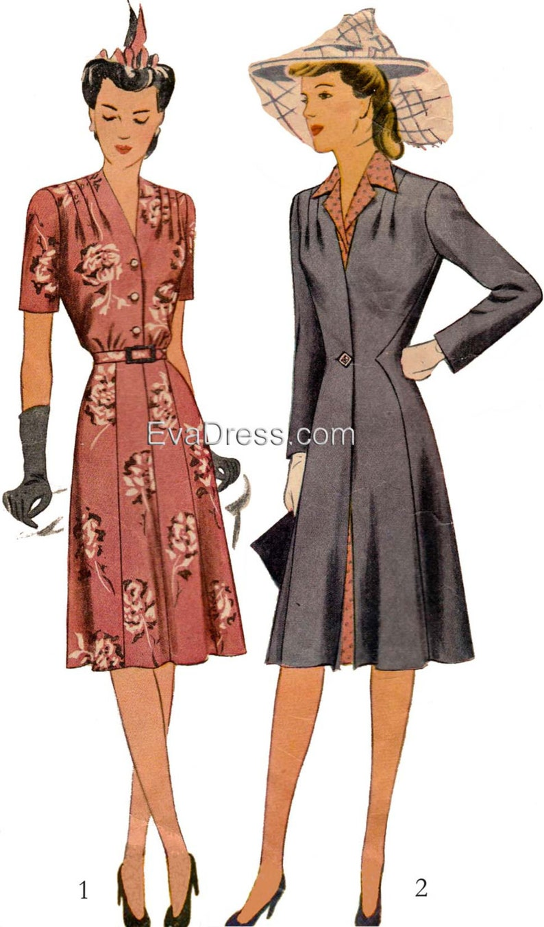 1940s Fabrics and Colors in Fashion 1943 Dress & Redingote EvaDress Pattern $30.00 AT vintagedancer.com