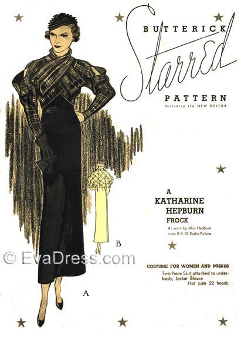 1930s Sewing Patterns- Dresses, Pants, Tops 1933 Katharine Hepburn Ensemble Multi-size Pattern by EvaDress $25.00 AT vintagedancer.com