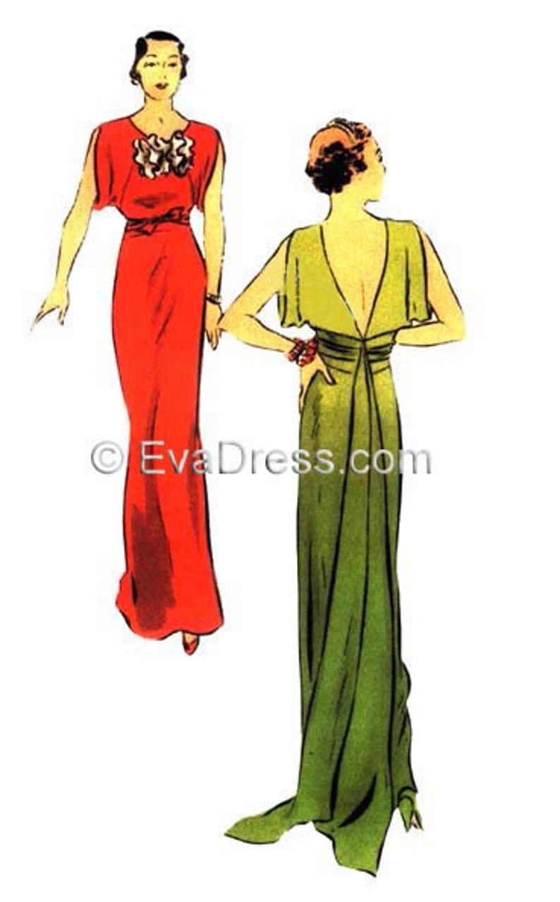 1930s Sewing Patterns- Dresses, Pants, Tops 1930 Evening or Bridal Gown EvaDress Pattern $17.00 AT vintagedancer.com