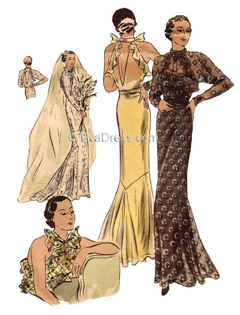 1930s Sewing Patterns- Dresses, Pants, Tops 1934 Evening or Wedding Gown Pattern by EvaDress $25.00 AT vintagedancer.com