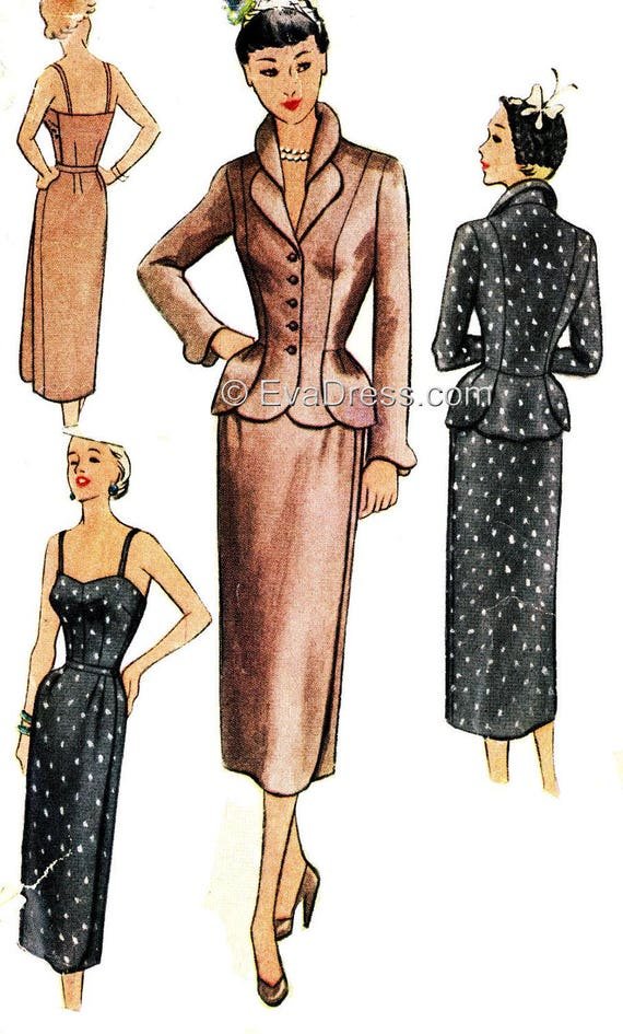 1950s Sewing Patterns | Swing and Wiggle Dresses, Skirts 1952 Camisole Skirt and Jacket Pattern by EvaDress $25.00 AT vintagedancer.com