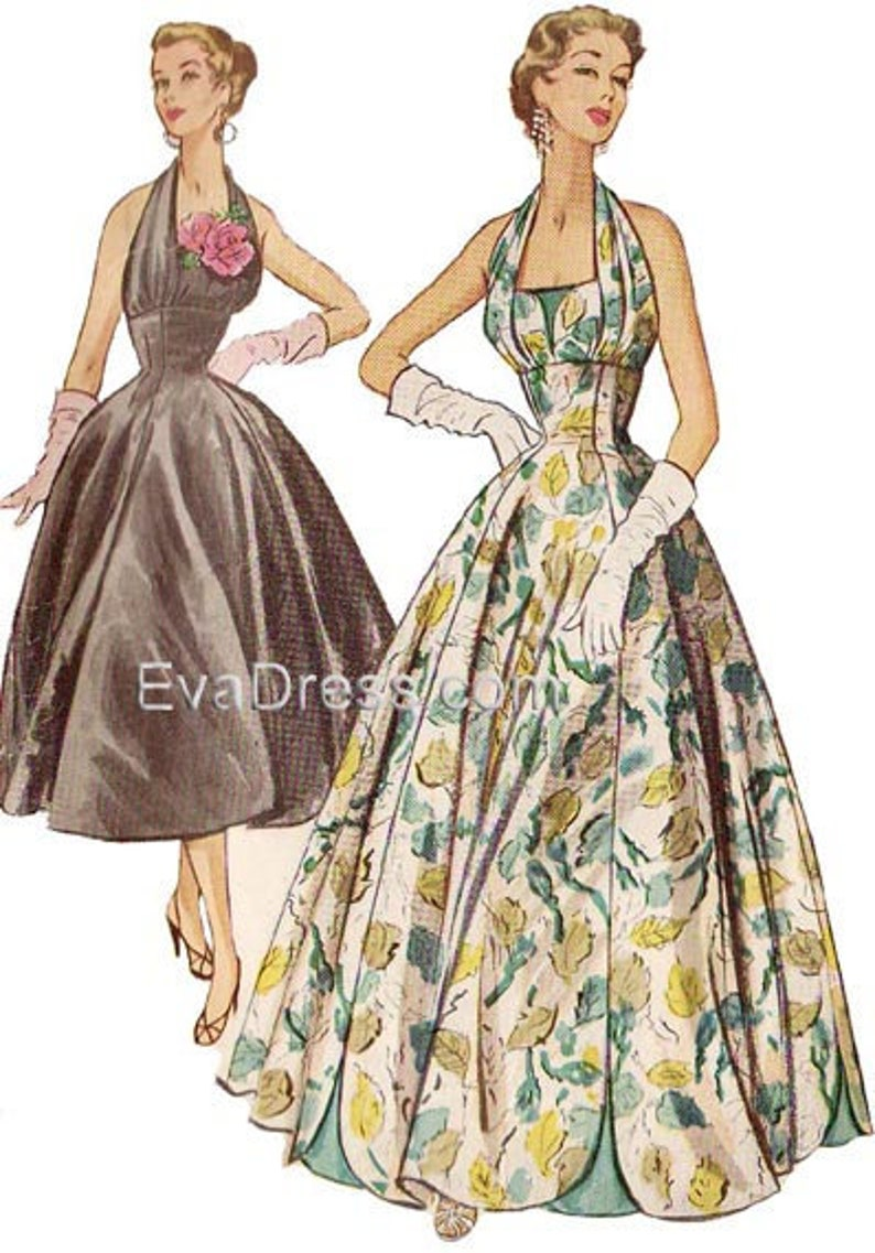 1950s Sewing Patterns | Dresses, Skirts, Tops, Mens 1954 Evening Halter Dress Pattern by EvaDress Size 32 to 38 bust $20.00 AT vintagedancer.com