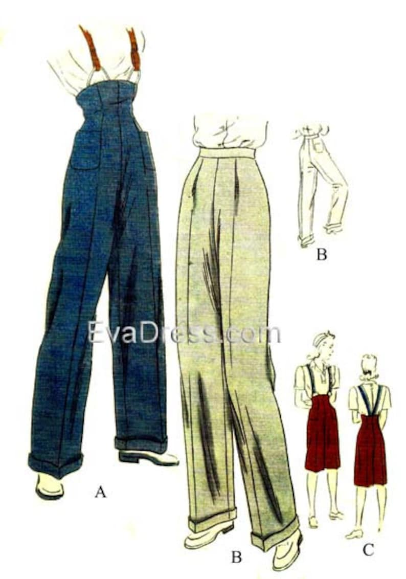 1945 Wide Leg Trousers and Clam Diggers 26 to 32 image 0