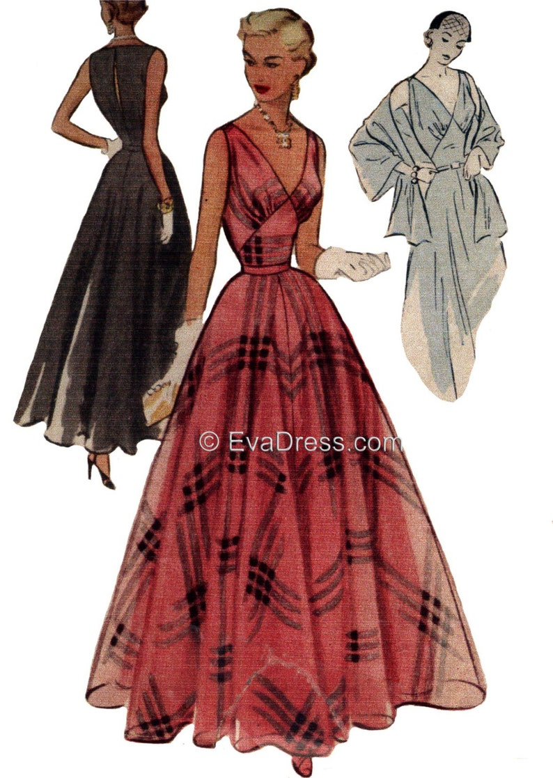 1950s Sewing Patterns | Dresses, Skirts, Tops, Mens 1951 Evening Gown Slip & Stole Pattern by EvaDress $25.00 AT vintagedancer.com