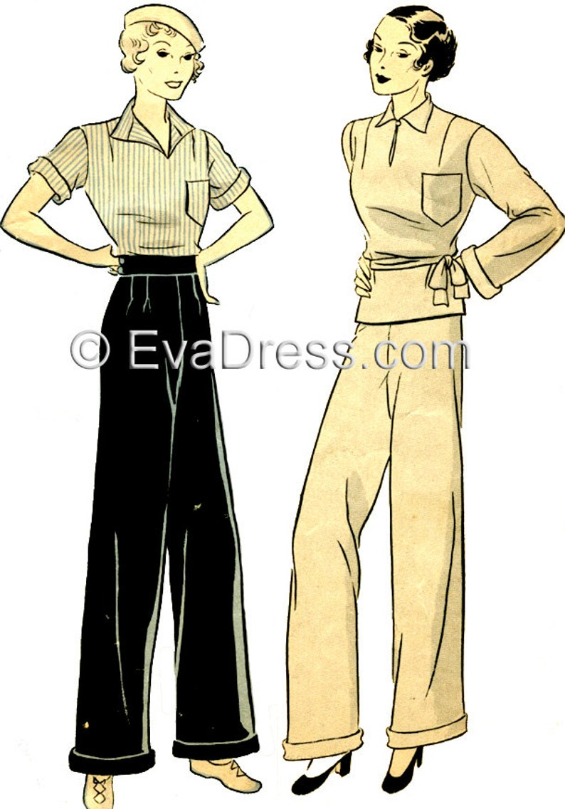 1930s Fashion Colors & Fabric 1935 Palazzo Ensemble Pattern by EvaDress $22.00 AT vintagedancer.com
