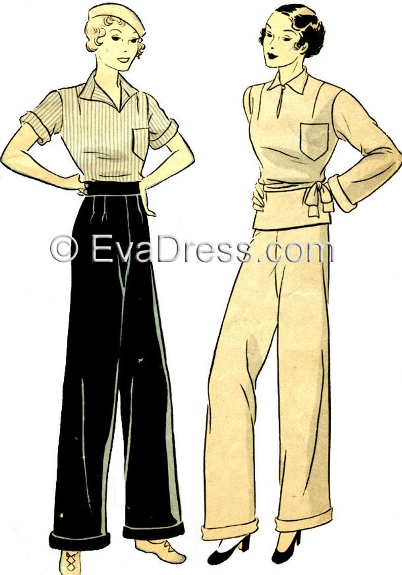 1930s House Dresses, Fabrics, Patterns 1935 Palazzo Ensemble Pattern by EvaDress $22.00 AT vintagedancer.com