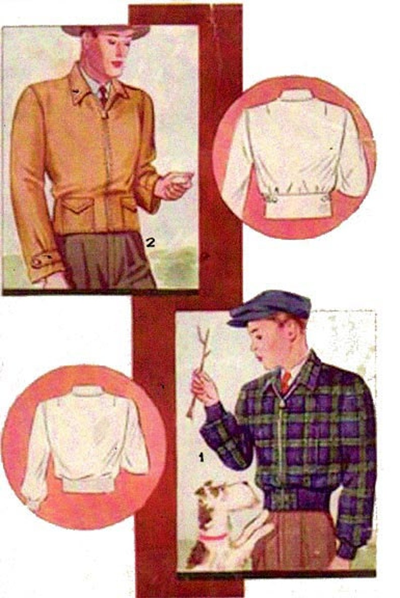 1930s Sewing Patterns- Dresses, Pants, Tops 1934 Windbreaker Jackets Size 40 chest EvaDress Pattern $18.00 AT vintagedancer.com