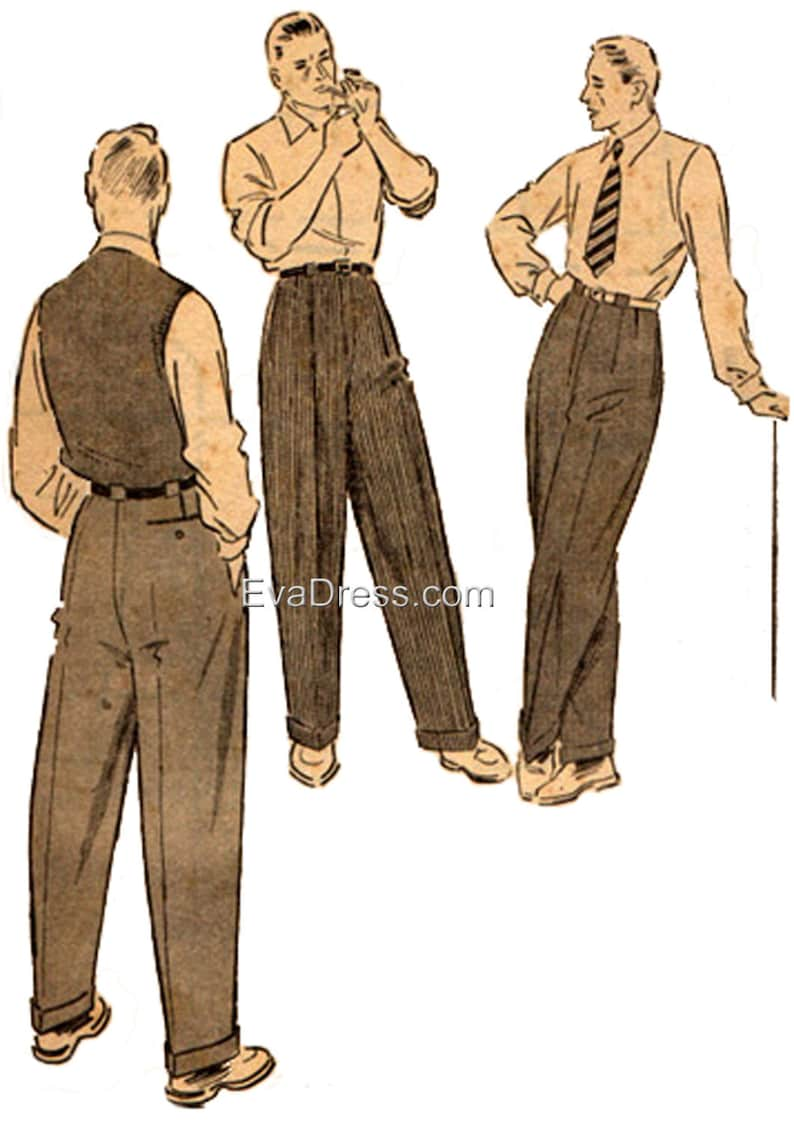Retro Clothing for Men | Vintage Men's Fashion 1950 Mens Trousers Pattern by EvaDress $18.00 AT vintagedancer.com
