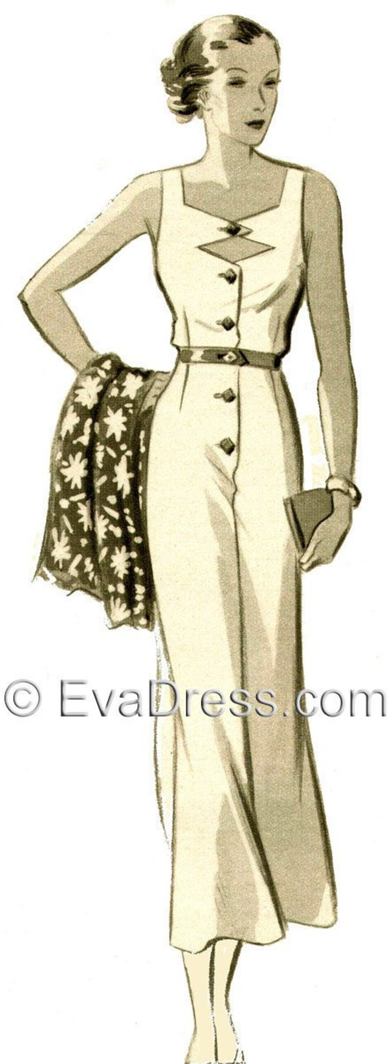 1930s Fashion Colors & Fabric 1935 Beach Dress DIGITAL PATTERN Size A by EvaDress $10.00 AT vintagedancer.com