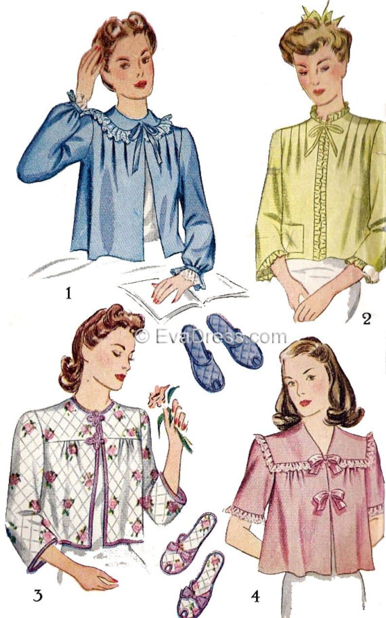 1940s Sewing Patterns – Dresses, Overalls, Lingerie etc 1943 Bed Jacket & Slippers Pattern by EvaDress $12.00 AT vintagedancer.com