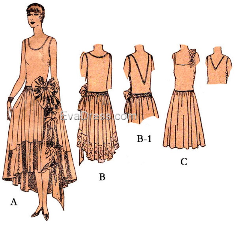 1920s Patterns – Vintage, Reproduction Sewing Patterns 1920s Robe de Style Multi-size Pattern by EvaDress $28.00 AT vintagedancer.com
