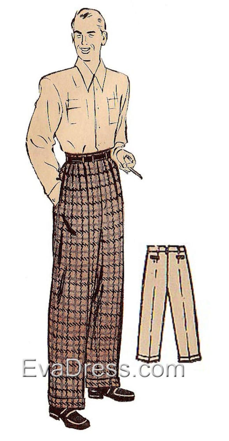 1940s Sewing Patterns – Dresses, Overalls, Lingerie etc 1940s Mens Wide Leg Trousers Pattern by EvaDress $18.00 AT vintagedancer.com