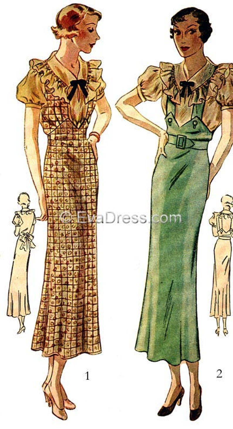 1930s House Dresses, Fabrics, Patterns 1935 Blouse and Jumper DIGITAL PATTERN by EvaDress! $10.00 AT vintagedancer.com
