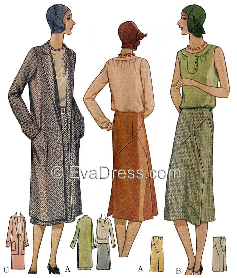 1920s Patterns – Vintage, Reproduction Sewing Patterns 1929 Blouse Skirt & Coat Pattern by EvaDress $32.00 AT vintagedancer.com