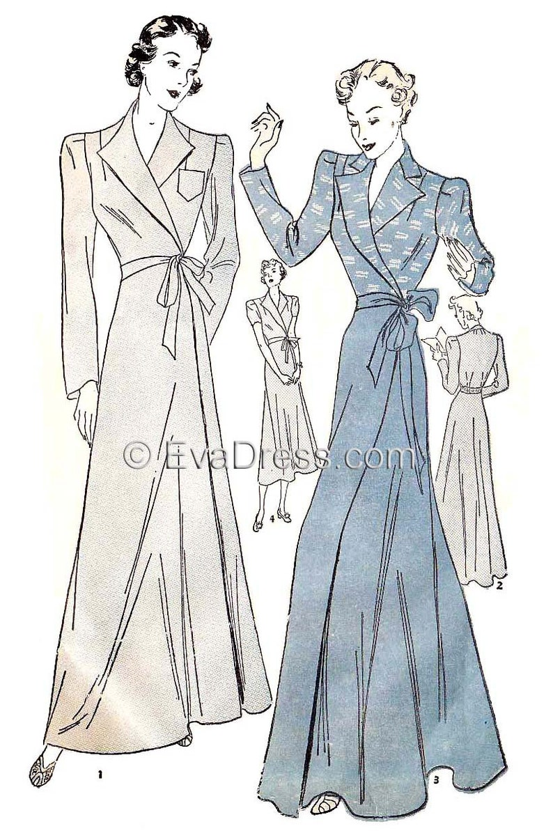 1930s Sewing Patterns- Dresses, Pants, Tops 1939 Housecoat Pattern EvaDress $25.00 AT vintagedancer.com