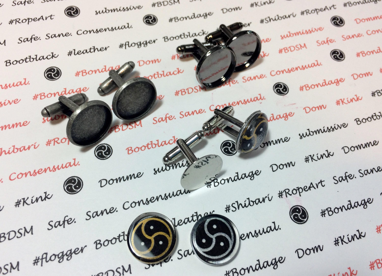 Bondage Emblem Dome Charm Euro Necklace Chain Jewellery Dominant Submissive Blk