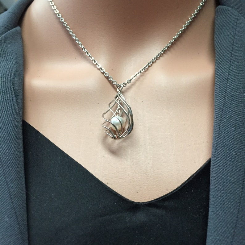 Male submissive Mistress necklace Goddess jewelry Cuckold Keyholder Sterling Silver Twisted Tear drop Cock Cage /& freshwater pearl chastity