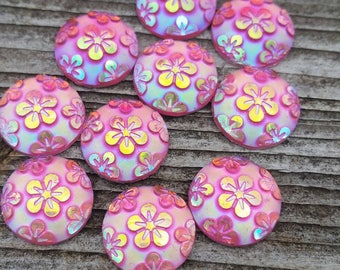 12mm Pink Floral Ab Resin Cabochon