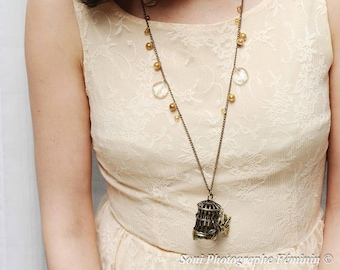 Mesh bird cage necklace, bronze