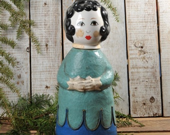 1960 Gemma Taccogna Capistrano Style Papier Mache made in Japan Folk Art lady with ceramic head Paper Mache