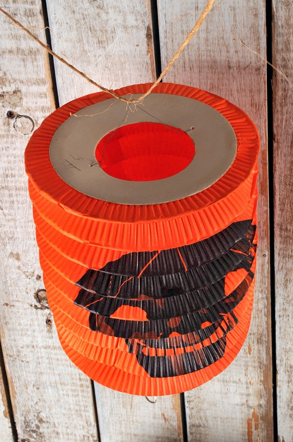 vintage accordion style halloween paper lantern skull holiday etsy