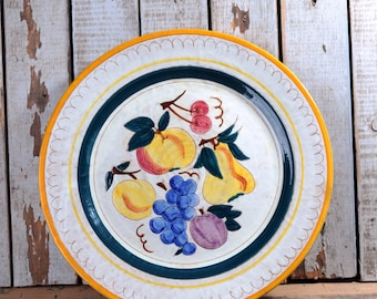 Stangl Large Round Platter Terra Rose Fruit Design by Kay Hackett, Hand Painted Chop Plate, Serving Platter, Terra Cotta Vintage Kitchen
