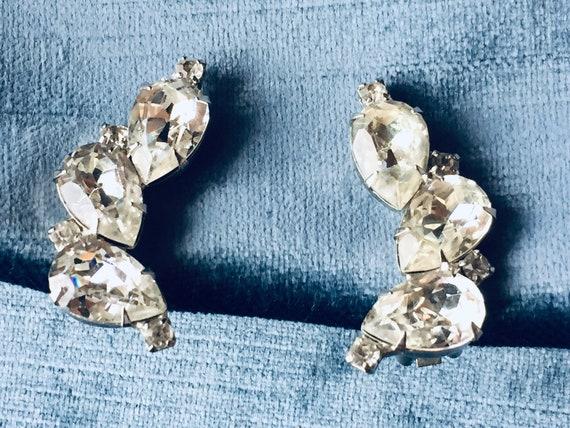 Vintage Rhinestone Earrings, Hollywood Trio Vintag