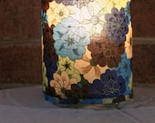 Lamp recycled floral fabric - table, pendant, swag, gold accent, blue, green, brown, beige