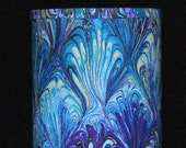 Lamp - marbled fabric  in purple, blue, green, yellow, black. Swag or table lamp